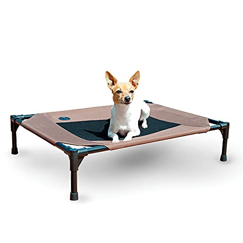 K&H Pet Products Original Pet Cot Elevated Dog Bed Chocolate/Black Mesh Medium 25 X 32 X 7 Inches