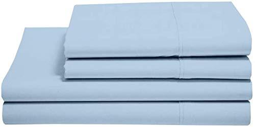Juego de sábanas de 4 piezas, 100% algodón egipcio de 400 hilos, algodón peinado de fibras largas para cama, transpirable, suave y sedoso, tejido de satén para colchón de 30 cm, color azul claro, liso
