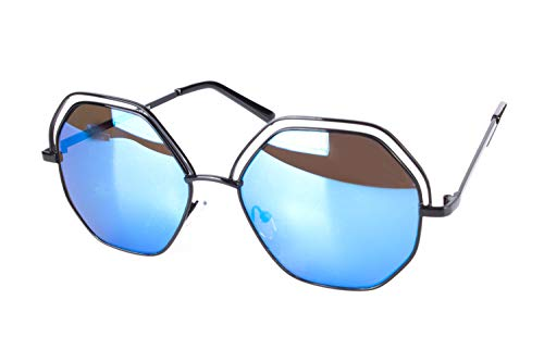 Zara Damen-Sonnenbrille, sechseckig, 100 % Cat.3 UV-Schutz, reflektierende, verspiegelte Gläser, Schwarz