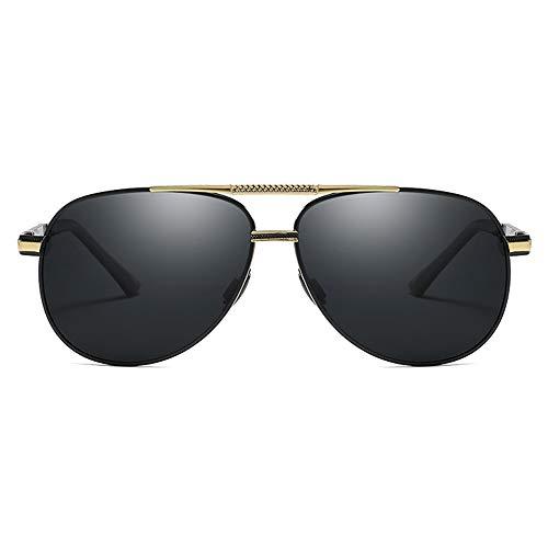 XFSE Gafas de sol de moda casual, polarizadas con material de PC, lentes negras, montura dorada/plateada, para hombres y mujeres con las mismas gafas de sol de conducción (color: oro)