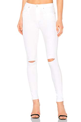 MONYRAY Jeans Strappati Donna Vita Alta Stretti Pantaloni in Denim Jegging Elasticizzati Skinny Sfilacciati alle Ginocchia Bianco con Strappi 38