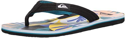 Quiksilver mens Molokai Layback Sandal, Black/Blue Neon Stripe, 6 US