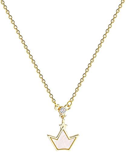 Collar de piezas vintage de la Corona de acrílico del encanto titanio de acero de cadena de las Mujeres diseño simple y elegante sentido de la cadena de clavícula