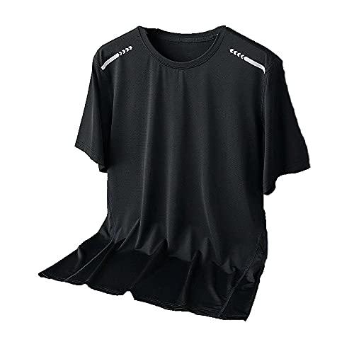 N\P Camisa deportiva de manga corta de secado rápido para hombre de verano transpirable de seda de hielo, Negro, XXXXXXXXL