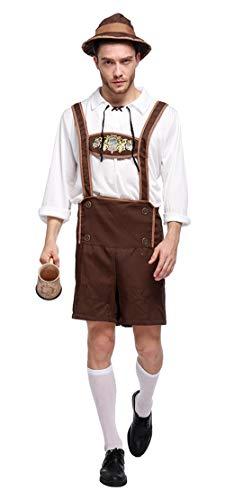 Foluton Trachten Herren Lederhose für Oktoberfest oder Karneval mit Blumen Druck Zwei Taschen Kurz Hut+Blusen+Hosen Oktoberfest Tracht Hose Bequme Modisch