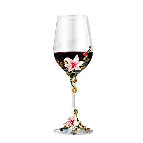 Rotweinglas, handgefertigt, Blumen, Emaille, klarer Kristall, Weißweingläser, in Geschenkbox, für Geburtstag, Frauen, Mutter, Freunde, Weihnachten, Muttertag, Iris Design (rosa Tasse Lilie)