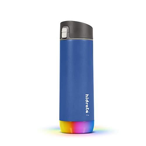 Hidrate Spark - Botella de Agua Inteligente Hecha de Acero, rastrea el Consumo de Agua y Brilla para recordarte Que te Mantengas hidratado, Chug, 17oz, Azul Oscuro Deep Blue