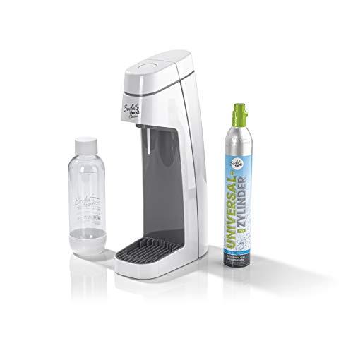 Soda Trend 06281 Wassersprudler Classic, weiß inkl. PET-Flasche 850ml u. CO2 Zylinder 60l | Wasserspender für Sprudelwasser | Wassersprudlergerät