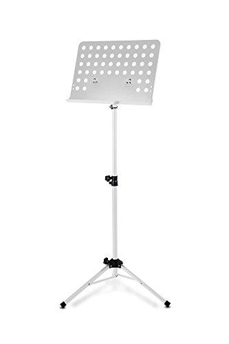 Classic Cantabile metalen orkesterpult (gatenpaneel muziekstandaard, hoogte 58 tot 100 cm instelbaar, afmetingen van de plank: 50,0 x 34,8 x 4,5 cm) wit