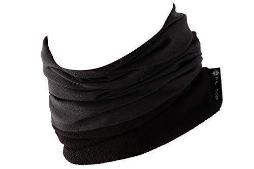 Hilltop Polar Halstuch, Multifunktionstuch, Kopftuch, Schlauchschal, Schal mit Fleece, Cooles Design in Trendfarben, für Damen und Herren, Farbe:Grau uni mit schwarz