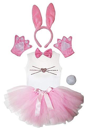 Petitebelle Disfraz de conejito para la nariz con tut de 6 piezas para nia de 1 a 8 aos (rosa, 5 a 6 aos)