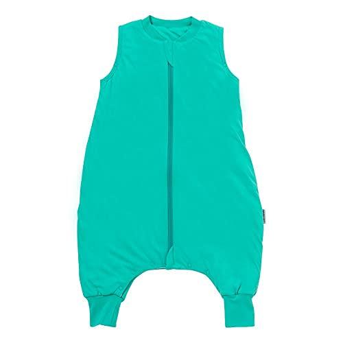 Schlummersack PREMIUM Schlafsack mit Füßen für den Sommer leicht gefüttert in 1.0 Tog - Türkis - 80cm mit Druckknöpfen an den Beinen für eine Körpergröße von 80-90 cm