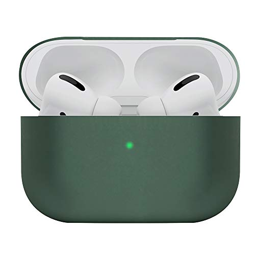 DamonLight AirPods Pro Case 4 Layers Full Protective Liquid Silicone [Front LED Visible] [Dust Free] Shock Proof Cover for Airpods Pro Charging Case(Midnight Green)