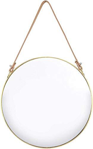 Trendi Leren LOOK Band Houten Muur Rond Opknoping Decoratieve Vanity Spiegel (Goud, 30 Dia cm)