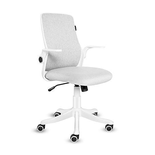 ELECWISH Office Chair Ergonomic Mid Back Swivel Desk Chair Fabric Office Home Swivel Adjustable Rolling Task Chair Study Chair with Flip up Armrests (Creamy White)