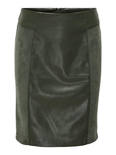 Only Onlelisa Faux Leather Mix Skirt Otw Falda para Mujer