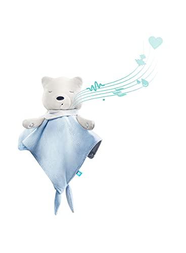 myhummy Einschlafhilfe Baby Doudou Basic blau weiß   White Noise Baby Einschlafhilfe Kinder zur Baby Beruhigung   my hummy Einschlafhilfe Baby mit sanftem Ausklingen nach 1 Stunde