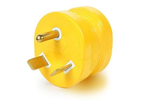 Camco PowerGrip Adaptateur électrique Durable – Prise en Main Facile pour Une Utilisation Simple et sûre, 30 A mâle 15 A Femelle (55233), Jaune/Jaune