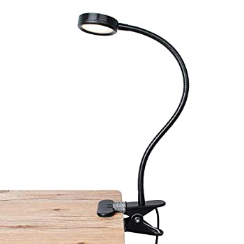 LEPOWER Clip on Light/Reading Light/Light Color Changeable/Night Light Clip on for Desk Bed Headboard and Computers  Black
