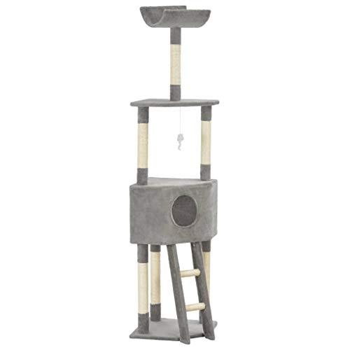 E E-NICES Albero per Gatti con Tiragraffi in Sisal Grigio 180 cm