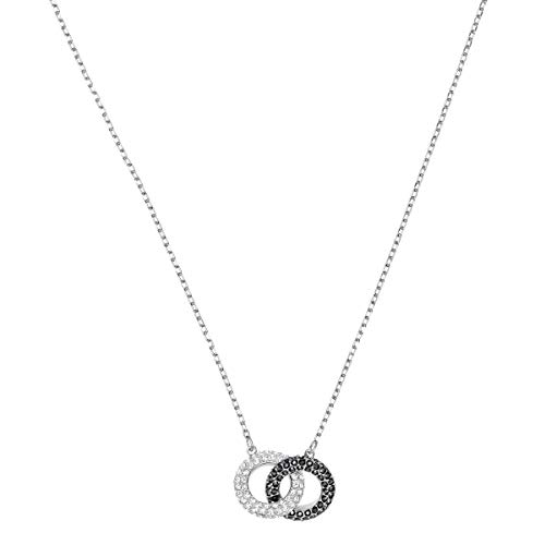 Swarovski Women's Sparkling Stone Necklace, with Two Rings and Swarovski Crystals, Rhodium Plated, from the Swarovski Stone Collection