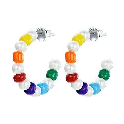 Vioness - Pendientes de perlas de colores arcoíris, diseño C, plata 925, joyas de fantasía para mujer y niña
