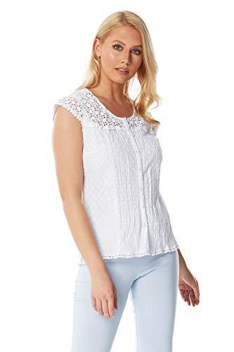 Roman Originals damska koronkowa bluzka z marszczeniem - damska broszka angleise joke 100% bawełna koszula bluzka haftowana na co dzień praca pochlebna lato wakacje wieczór boho vintage