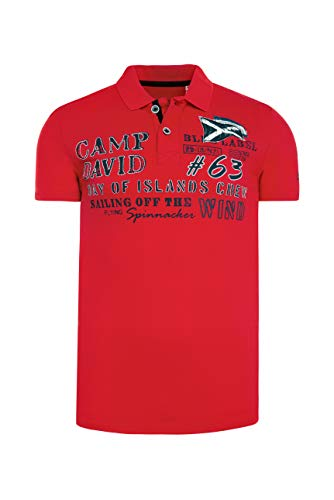Camp David Herren Piquee-Polo mit Prints und Stickereien, Speed Red, XL