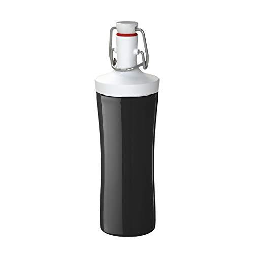 Koziol Unisex Jugend PLOPP to GO Trinkflasche, Cosmos Black-Cotton White, 425ml