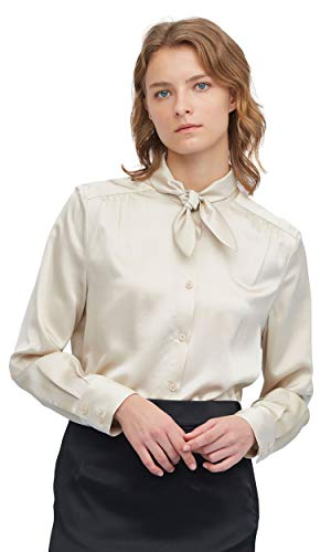 LilySilk Seidenbluse Damenbluse Seidenhemd Schluppenbluse Langarmbluse Damen mit Bindeband Verpackung MEHRWEG Creme M