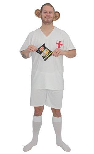 Kit de disfraz de ftbol de Inglaterra para adultos, diseo de Gary Lineker y orejas gigantes [S/M]