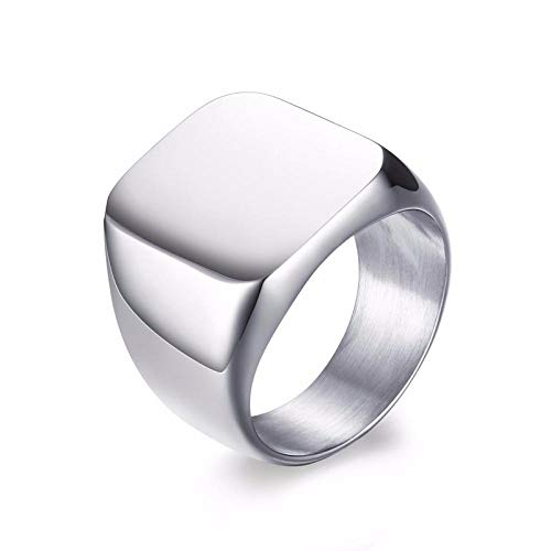 RNXRB Anillo de sello cuadrado con monograma grabado personalizado para hombres anillos de meñique de acero inoxidable joyería accesorios de banda de boda 11 blanco