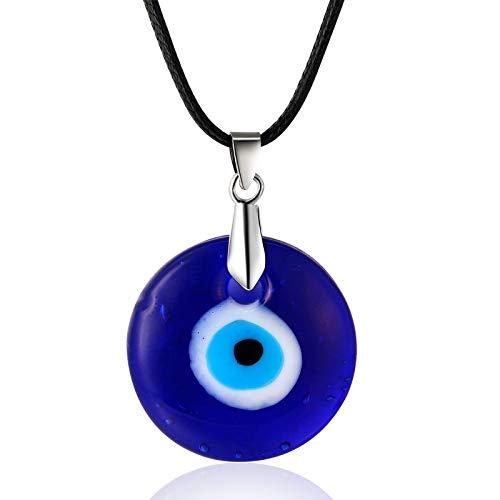 HALUKAKAH Mal de Ojo Collar para Hombre Mujer,Zafiro Resina Ojo Azul Colgante Cuerda de Cera Hecho a Mano Protección Joyas Mal de Ojo con Caja