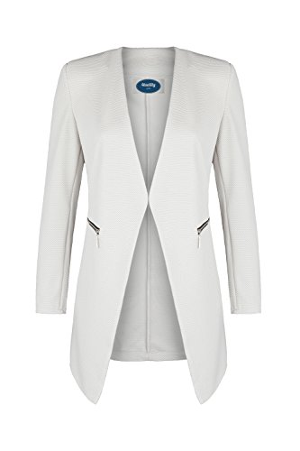 4tuality AO Long Blazer kragenlos mit Zipper beige Gr. XL