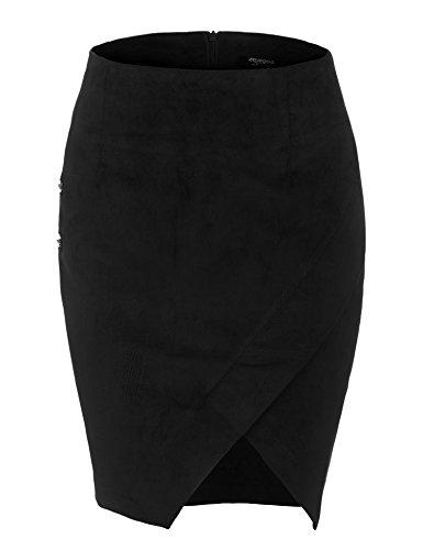 Zeagoo Women's High Waist Corduroy Faux Wrap Slit Solid Mini Sheath Wear to Work Skirt Black