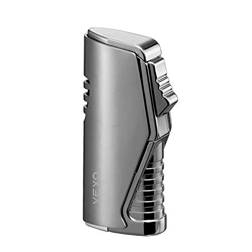 VEXO Cigar Lighter, Triple 3 Flame Refillable Butane Lighter Adjustable Flame with Cigar Punch and Visible Gas Window (Butane NOT Included) (Silver)