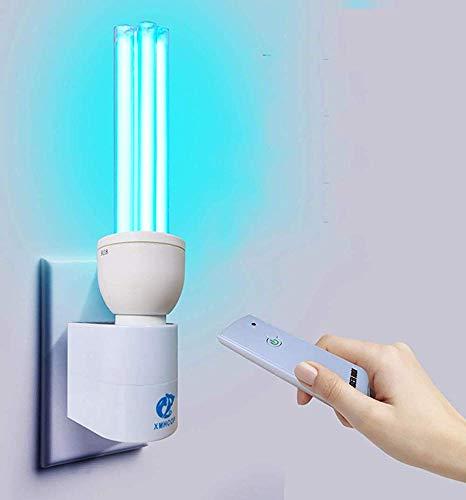 Desinfección en interiores Lámpara germicida compacta Uv-c Purificador de aire con lámpara de desinfección con ozono UV con portalámparas y control remoto,30w ozone base remote control
