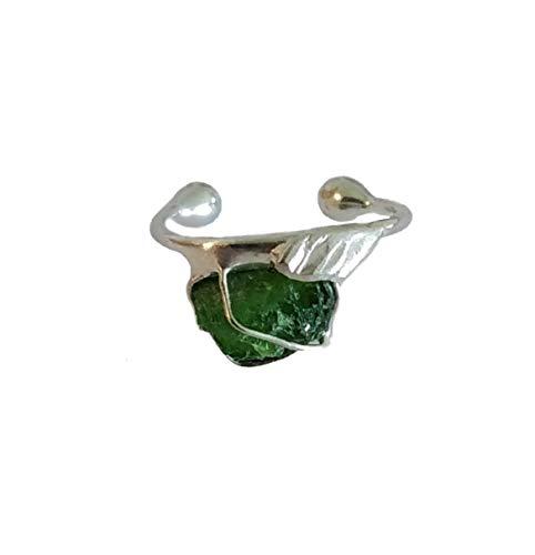 Ohrring Ohrklemme kleine Creole Silber mit Chromdiopsid als Rohstein 123S-R für das rechte Ohr