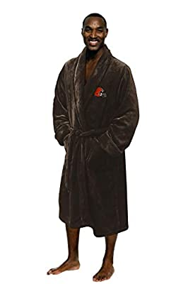 The Northwest Company Officially Licensed NFL Cleveland Browns Men's Silk Touch Lounge Robe, One Size, Brown