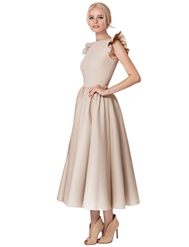 "Baymate Damen Elegant Cocktailkleid Ã""rmellos Rundhals Party Kleid Langes Abendkleid (Aprikose, Asia M)"