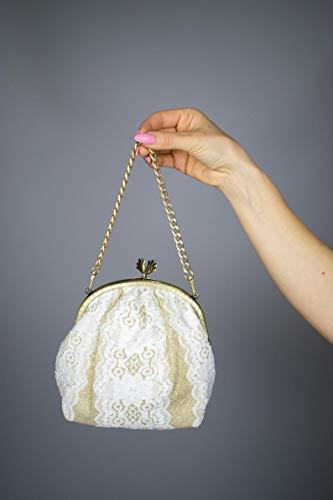 Bolso de lujo bordado blanco dorado boda novia comunion fiesta regalo