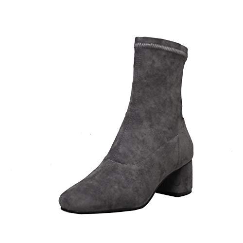 New Stretch Socken Schuhe Schlupfstiefeletten Winter Quadratische High Heels Schuhe Damen 33 Gr. 6, Grauer Frühling