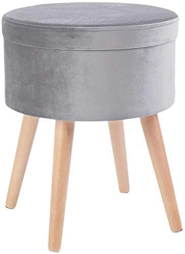 Zedelmaier Sitzhocker Aufbewahrungsbox Stuhl Ottoman Polstersitz aus Leinen und Massivholz (Dunkelgrauer Samt)