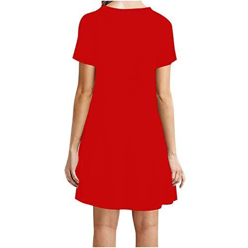 Routinfly Damen Boho Lange Kleider Sommerkleider Langarm Wickelkleid Minikleid Strandkleid Damenkleid Bedrucktes Taillenkleid Mode Frauen Casual Kurzarm O-Ausschnitt Solid Ladies Loose Minikleid