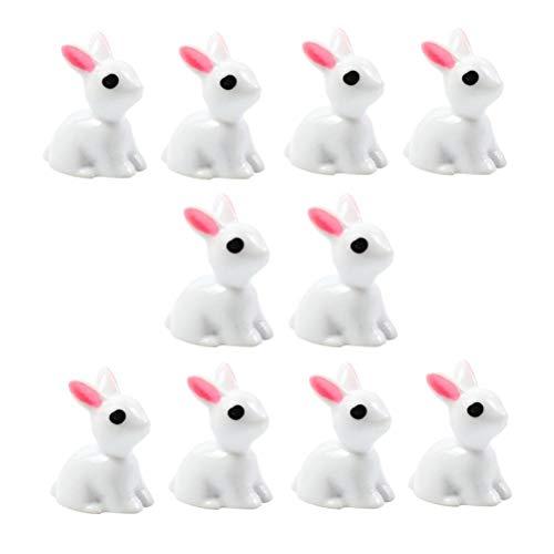 BESTOYARD 10 pcs Mini Lapin Animal Jardin Féérique Miniature Décoration Jouets Micro Paysage Décorations (Blanc)