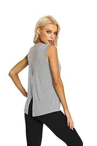 Dos Nu sans Manches Femmes Yoga Débardeurs Hauts De Sport Fitness Yoga Ras du Cou Sport Running T-Shirt (Light Grey, S)