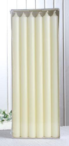 """12x Premium-Stabkerze """"Extralang"""", 35 x 2,2 cm Ø, elfenbein"""