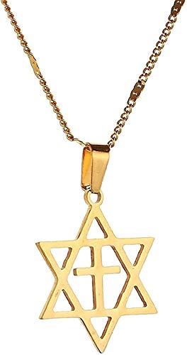 duoyunxiayu Collar con Colgante de Estrella de David para Hombre, Cruz de Acero Inoxidable, joyería de Estrella judía, Collar con Colgante de David, Regalo para niñas y niños