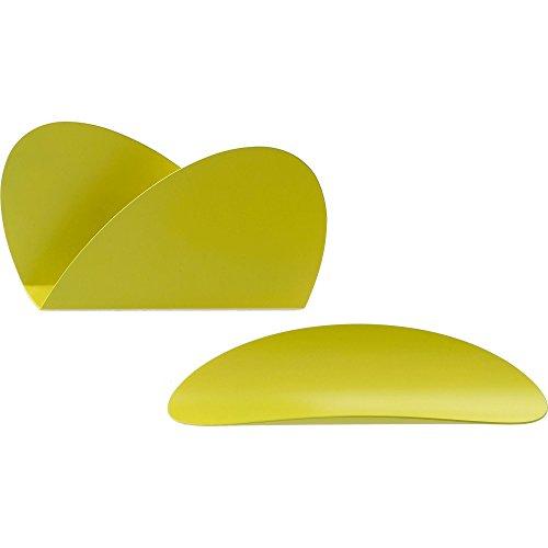 Alessi ABI09S Y Ellipse Set bestehend aus zwei Behälter, Stahl, epoxidharzlackiert, gelb