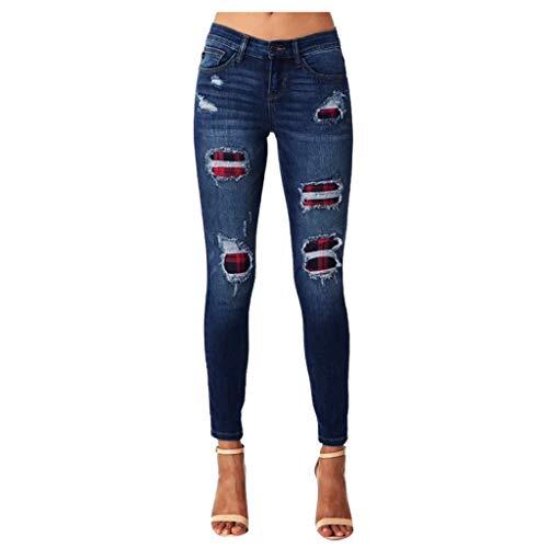SPORTTIN Women's Stretch Ripped Jeans Denim Holes Plaid Patches Skinny Distressed Pants(Blue,L)